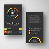 stock photo of placeholder  - Modern simple dark vertical business card template with some placeholder - JPG