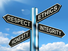 foto of respect  - Respect Ethics Honest Integrity Signpost Meaning Good Qualities - JPG