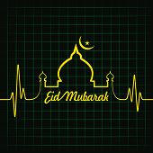 foto of kaba  - Creative calligraphy of text eid mubarak with heartbeat - JPG