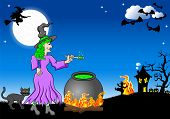 foto of witches cauldron  - vector illustration of a witch cooking a magic potion in the cauldron - JPG