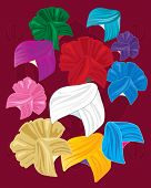 picture of sikh  - an illustration of a variety of colorful sikh turbans on a red background - JPG
