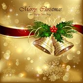 picture of holly  - Background with golden Christmas bells ribbon and holly berries illustration - JPG