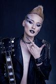 foto of iroquois  - Fashion Rocker Style Model Girl Portrait - JPG