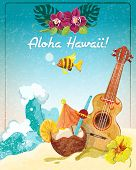 picture of guitar  - Hawaii guitar tropical beach vacation advertisement poster with coconut refreshment colada drink sketch color abstract vector illustration - JPG