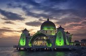 image of malacca  - Malacca Straits Mosque at sunset in Malaysia located in a man - JPG