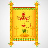 stock photo of navratri  - easy to edit vector illustration of Happy Navratri wishing for Happy Dussehra - JPG