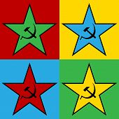 stock photo of communist symbol  - Pop art communist star icon vector illustration - JPG