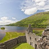 stock photo of bute  - An image of Loch Awe as viewed from Kilchurn Castle a ruined 15th century structure on the banks of Loch Awe in Argyll and Bute Scotland - JPG