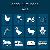 stock photo of animal husbandry  - Set agriculture animal husbandry icons - JPG