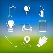 foto of caddy  - Set of white silhouette vector icons for golf on colored green and blue background - JPG