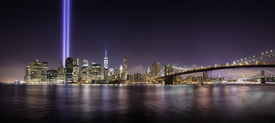 image of tribute  - Pano of Manhattan in the memorial day tribute lights at night New York - JPG