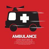 stock photo of ambulance  - Ambulance Black Graphic Vector Illustration - JPG