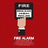 stock photo of smoke detector  - Hand Push Fire Alarm Button Vector Illustration - JPG