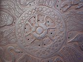 picture of aborigines  - Closeup of metal deck with aboriginal art - JPG