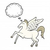 foto of pegasus  - cartoon pegasus with thought bubble - JPG