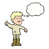 pic of attitude boy  - cartoon poor boy with positive attitude with thought bubble - JPG