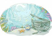 picture of shipwreck  - Underwater Illustration of a Shipwrecked Vehicle Lying at the Bottom of the Sea - JPG
