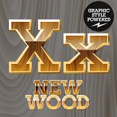 pic of letter x  - Vector wooden font with golden border - JPG