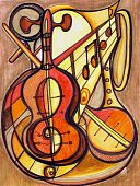 picture of musical instrument string  - Artistic painting of an arrangement of string and brass musical instruments in warm earth tones - JPG