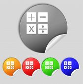 stock photo of mathematics  - Multiplication division plus minus icon Math symbol Mathematics Set of colour buttons Vector illustration - JPG