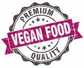 foto of vegan  - vegan food grunge violet seal isolated on white - JPG