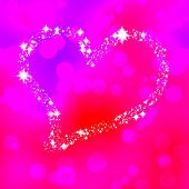 image of compose  - Soft heart composed of stars on pink bokeh background - JPG