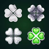 pic of four leaf clover  - Vector Silver Four - JPG