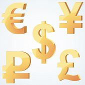 picture of yen  - Golden symbol of currency - JPG