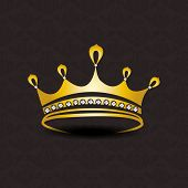 stock photo of pageant  - Golden crown with diamond on seamless dark brown background - JPG