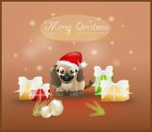 stock photo of christmas puppy  - Small puppy with christmas decoration on background - JPG