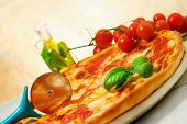 image of flavor  - pizza margherita and oil flavored with basil - JPG