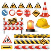 image of warning-signs  - Set of signs and symbols under construction - JPG