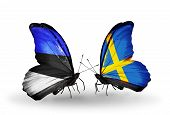 stock photo of sweden flag  - Two butterflies with flags on wings as symbol of relations Estonia and Sweden - JPG