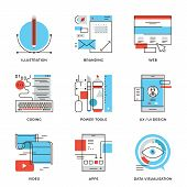 picture of line  - Thin line icons of creative graphic design branding identity mobile apps develop UI UX user interface website coding - JPG