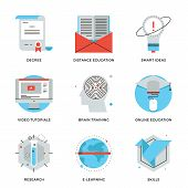 stock photo of online education  - Thin line icons of online education brain training games internet tutorials smart ideas electronic learning process - JPG