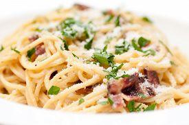 image of carbonara  - spaghetti carbonara pasta alfredo sauce with bacon  - JPG