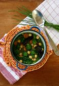 stock photo of brussels sprouts  - Healthy soup with broccoli - JPG