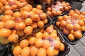 stock photo of kumquat  - Packages of Kumquats sold on the market - JPG