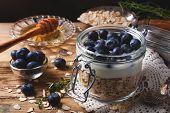 picture of yogurt  - Muesli with yogurt and blue berries in glass jar on dark background - JPG
