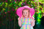 picture of birthday hat  - Little cute girl with flowers - JPG