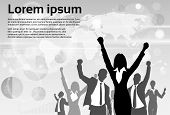 foto of exciting  - Business People Group Silhouette Excited Hold Hands Up Raised Arms - JPG