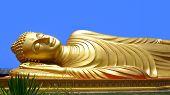 stock photo of recliner  - Reclining Buddha in Hat  - JPG