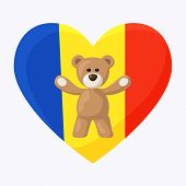 foto of chad  - Teddy Bears with heart with flag of Romania  - JPG