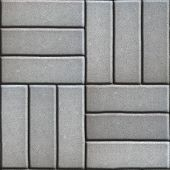 pic of paving  - Gray Paving Slabs of Three Rectangles Laid Out Perpendicular to Each Other - JPG