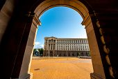 stock photo of neo-classic  - An architectural ensemble of three Socialist Classicism edifices in central Sofia - JPG