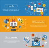 foto of online education  - Flat design vector illustration concepts of education and online learning - JPG