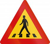 stock photo of pedestrian crossing  - Road sign in Iceland  - JPG