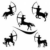 pic of archery  - Centaur set of black silhouettes - JPG