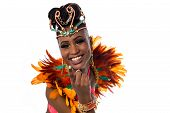 picture of carnival brazil  - Smiling carnival costumed woman over white background - JPG