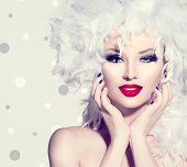 image of feathers  - Beauty Fashion Model Girl with White Feathers Hair style and bright make up - JPG